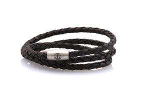 neptn women bracelet JUNO Anchor Steel Triple 4 anticbrown leather