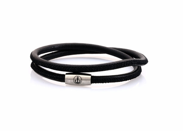 neptn women bracelet JUNO Anchor Steel double 4 black nappa leather