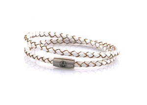 neptn women bracelet JUNO Anchor Steel double 4 white leather