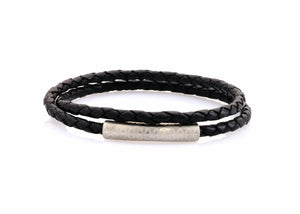 neptn women bracelet MINERVA F.O.L. silver double black leather