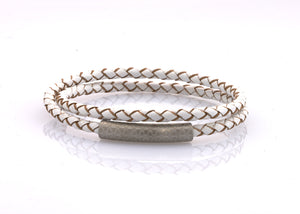 neptn women bracelet MINERVA F.O.L. silver double white leather