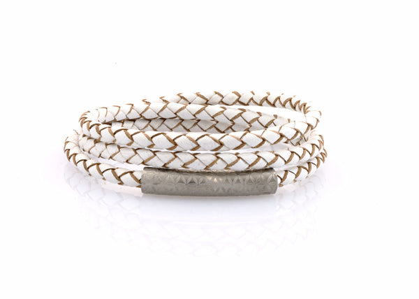 neptn women bracelet MINERVA F.O.L. 4 silver triple white leather