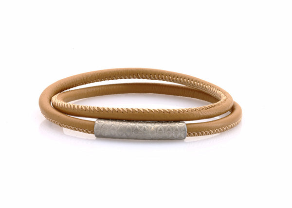 neptn women bracelet MINERVA F.O.L. silver double cappuccino leather