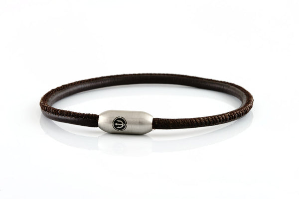 Neptn Bracelet AURORA Trident Steel single 3 Brown-Nappa