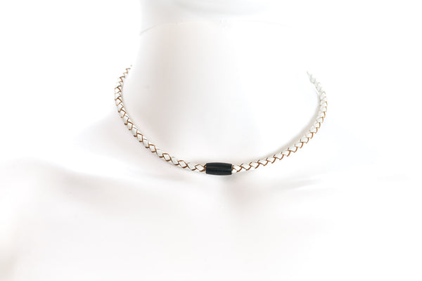 Maritime design chokers for women by NEPTN. Nautical style chokers with anchor engraving & magnetic closure. White leather