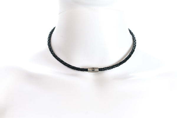 Maritime design chokers for women by NEPTN. Nautical style choker with anchor engraving & magnetic closure. black leather