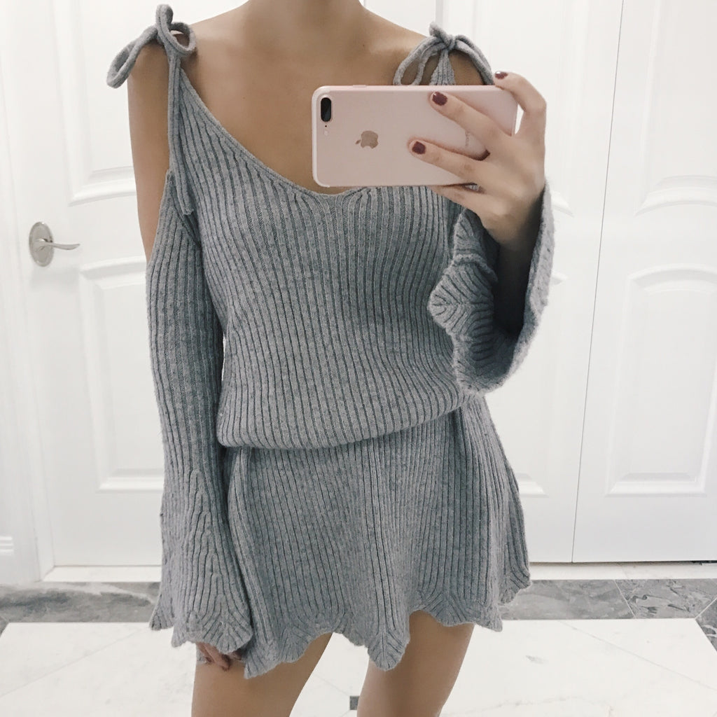 Alina Cold Shoulder Sweater Dress