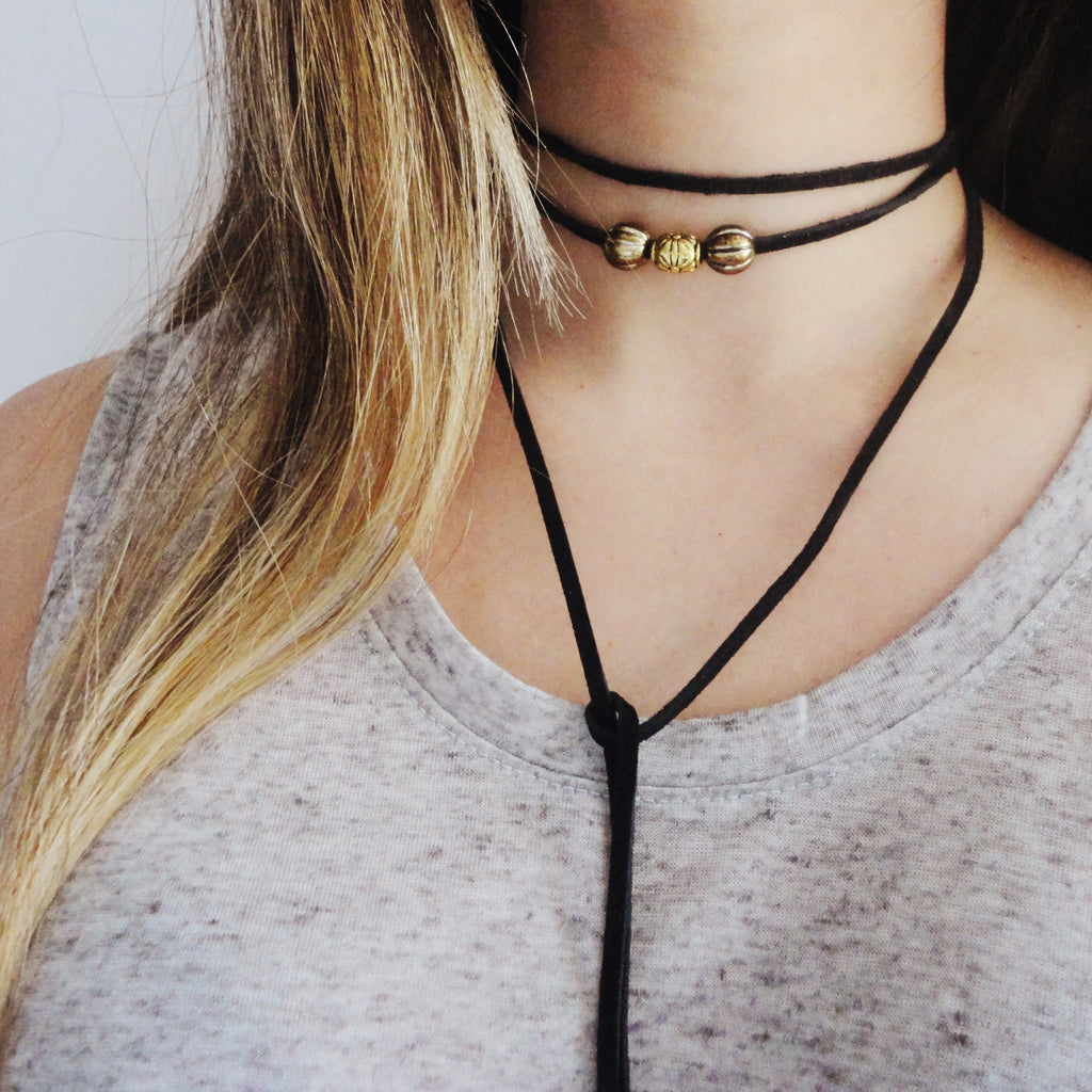 Suede Choker - Black, 62 in.