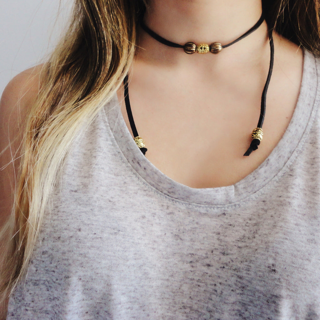 Suede Choker - Black, 30 in.