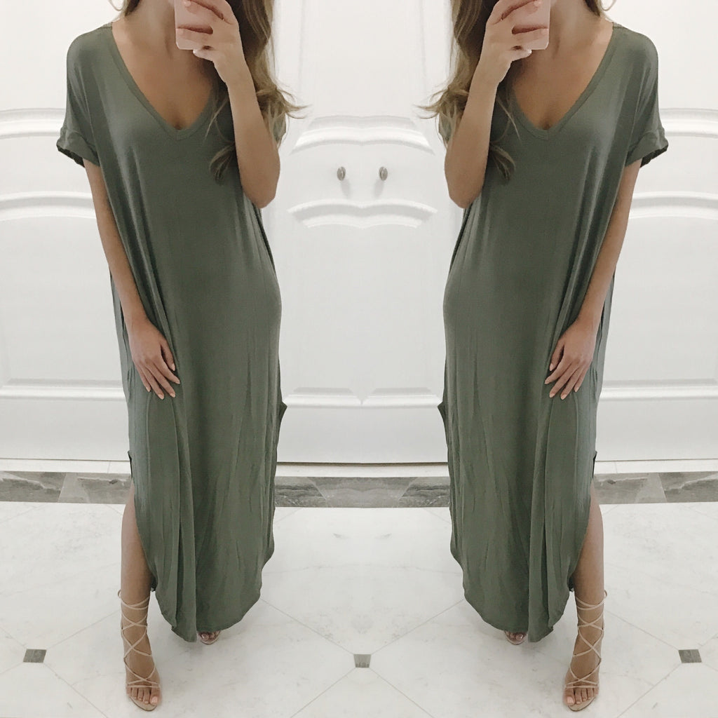 Cassie Oversized Maxi Dress in Sage