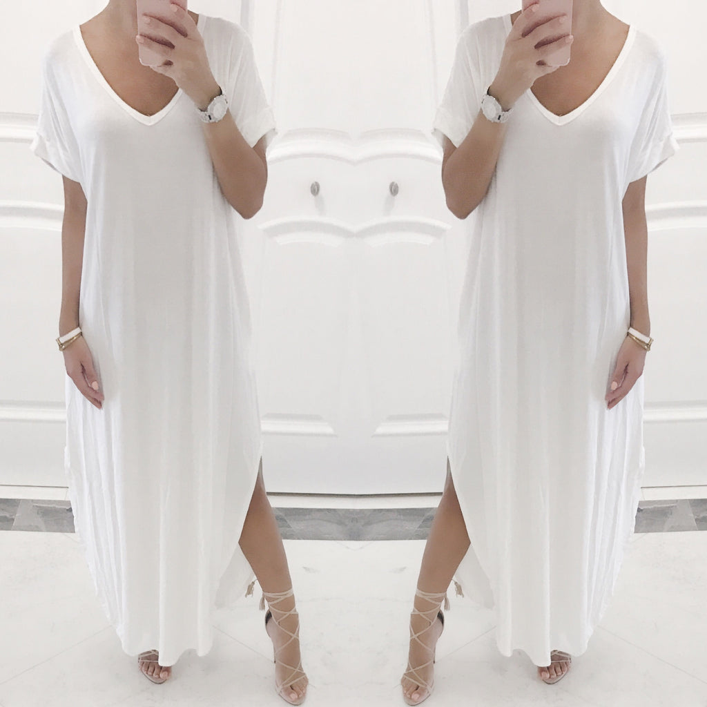 Cassie Oversized Maxi Dress in Ivory