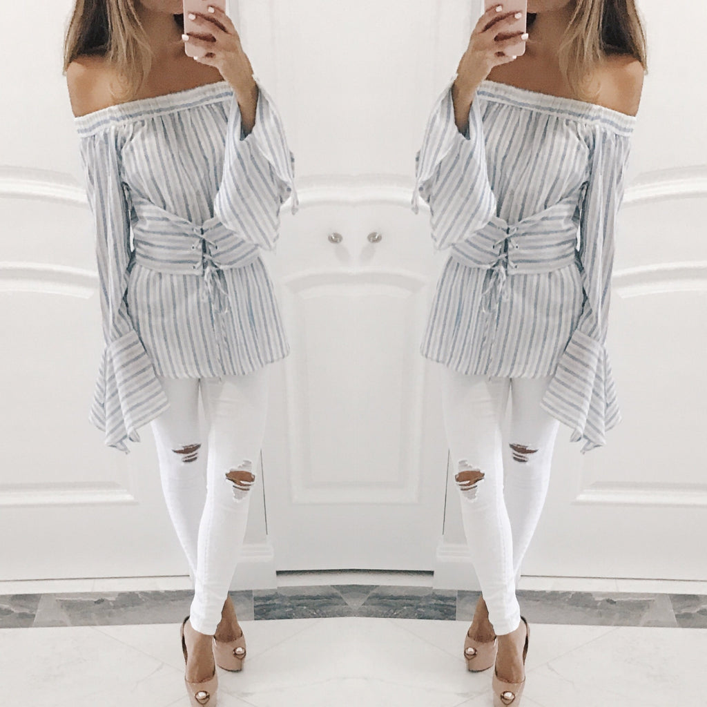 Elizabeth Off The Shoulder Striped Blouse