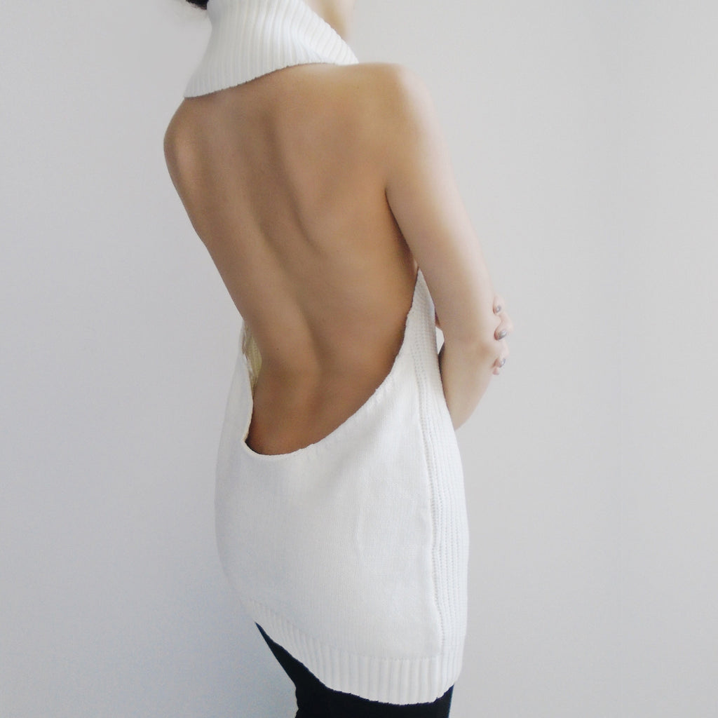 Elle Sleeveless Open Back Turtleneck Top