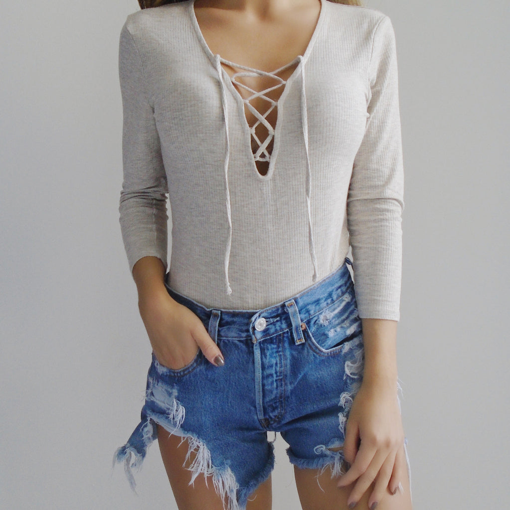Harlow Lace-Up Long Sleeve Bodysuit