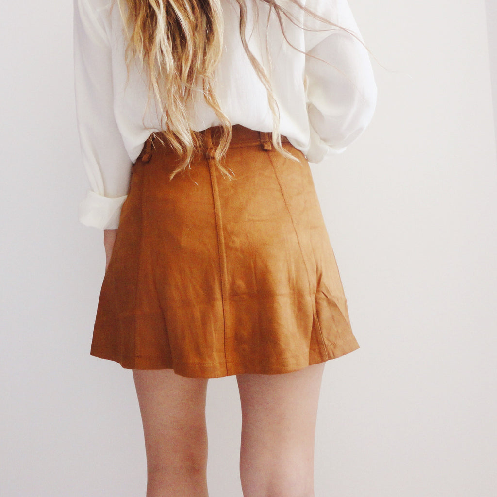 Bridget Camel Suede Skirt