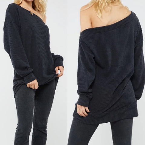 Amy Choker Suede Long Sleeve Top
