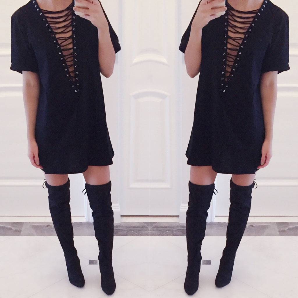 Kendall Lace-Up V-Neck Shirt Dress in Black