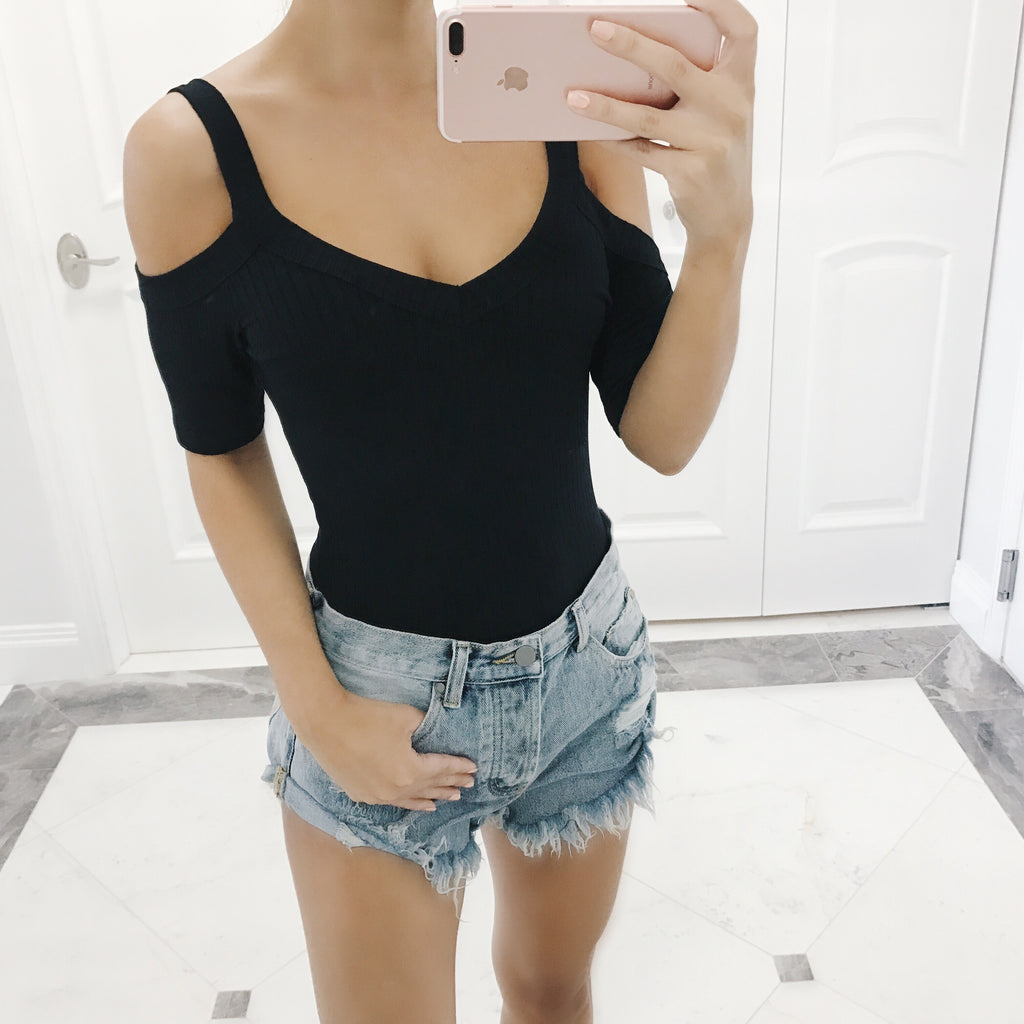 Kimmy Black Cold Shoulder Bodysuit