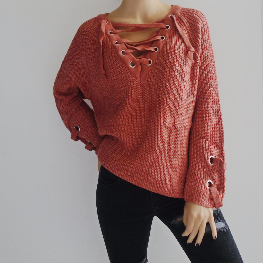 Molly Lace Up Sweater
