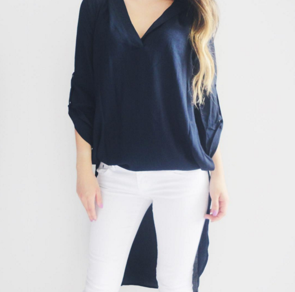 Mia Navy Blue Hi-Lo Blouse