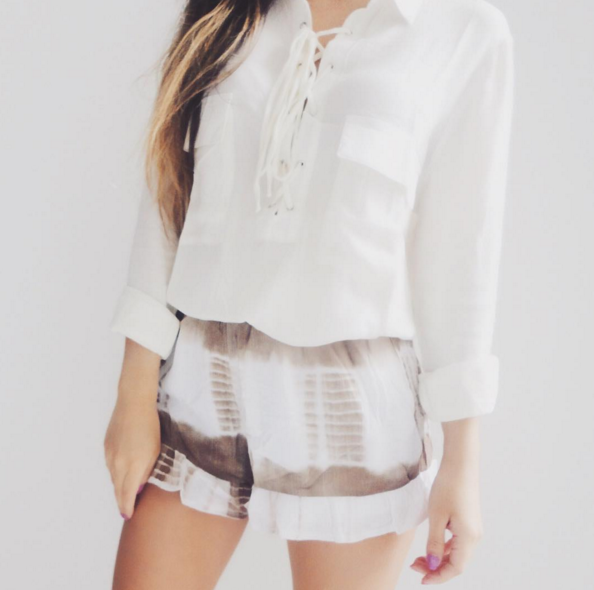Daisy White Lace Up Top