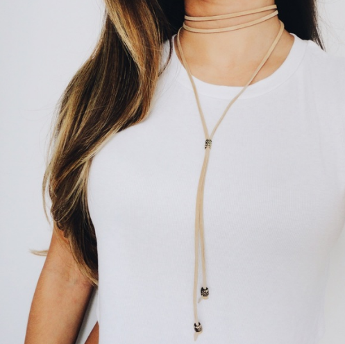 Suede Choker - Tan, 62 in.