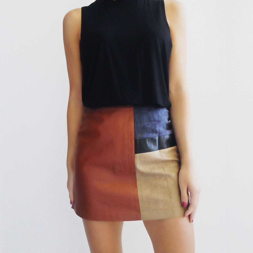 Vicky Leather + Suede Colorblock Skirt