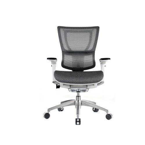 iOO Eurotech Ergonomic Office Chair in White Mesh and White Frame, Front View