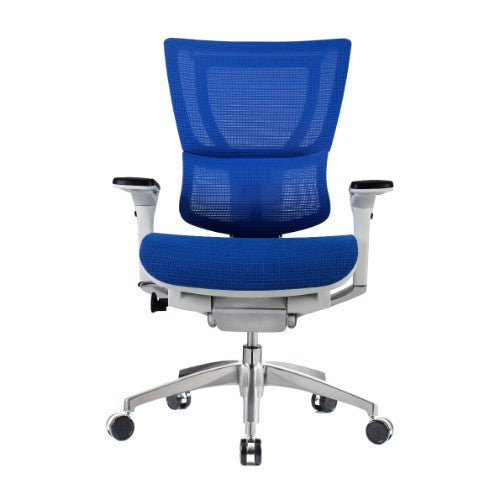 iOO Eurotech Ergonomic Office Chair in Bright Blue Mesh and White Frame, Front View
