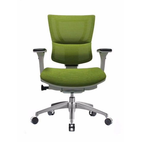iOO Eurotech Ergonomic Office Chair in Bright Green Mesh and White Frame, Front View