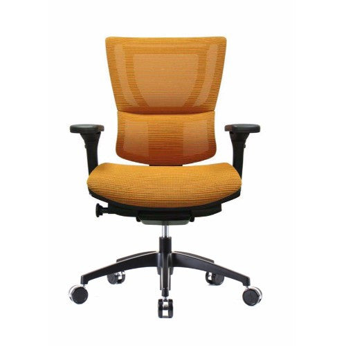iOO Eurotech Ergonomic Office Chair in Bright Orange Mesh and Black Frame, Front View