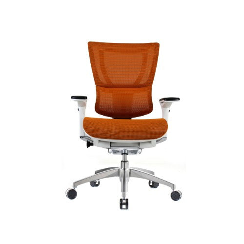 iOO Eurotech Ergonomic Office Chair in Bright Orange Mesh and White Frame, Front Facing View