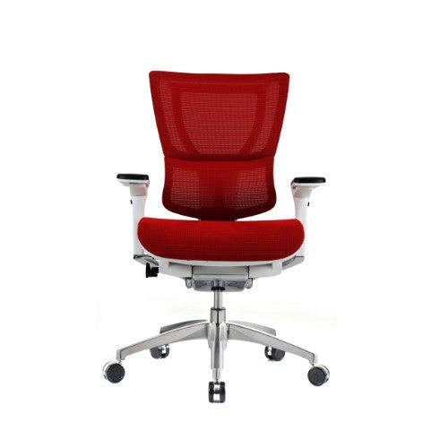 iOO Eurotech Ergonomic Office Chair in Bright Red Mesh and White Frame, Front View