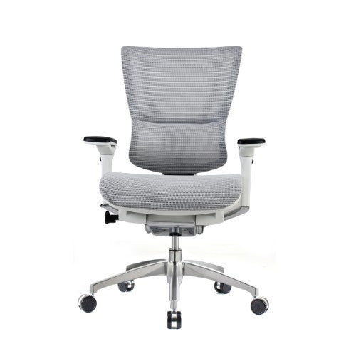 iOO Eurotech Ergonomic Office Chair in Bright White Mesh and White Frame, Front View