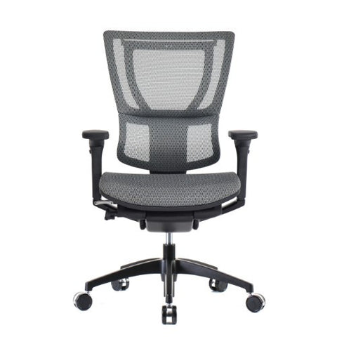 iOO Eurotech Ergonomic Office Chair in Dark Grey Mesh and Black Frame, Front View