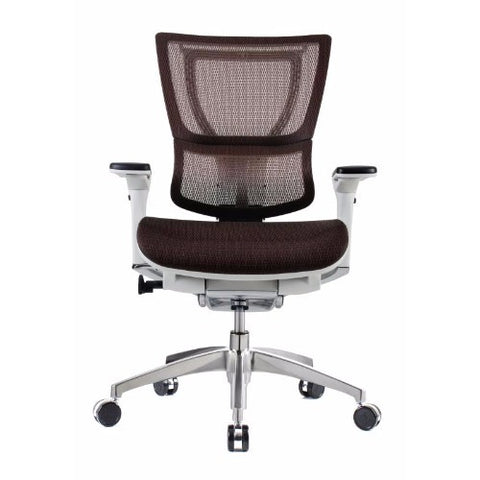 iOO Eurotech Ergonomic Office Chair in Dark Orange Mesh and White Frame, Front View