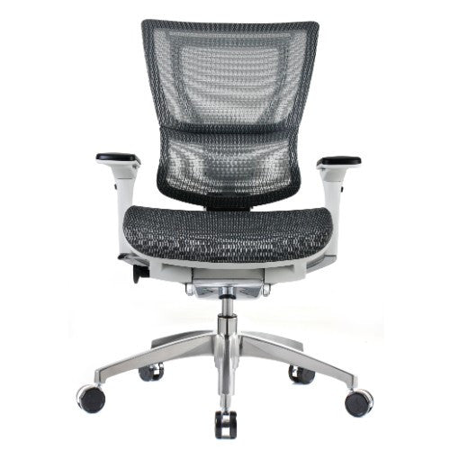 iOO Eurotech Ergonomic Office Chair in Dark Grey Mesh and White Frame, Front View