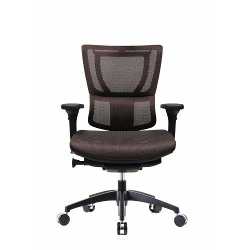 iOO Eurotech Ergonomic Office Chair in Dark Orange Mesh and Black Frame, Front View