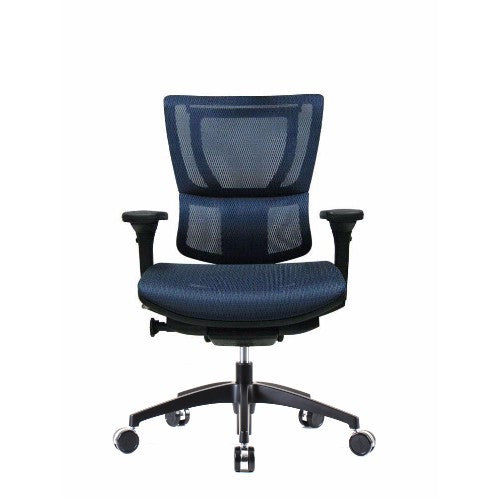 iOO Eurotech Ergonomic Office Chair in Dark Blue Mesh and Black Frame, Front View