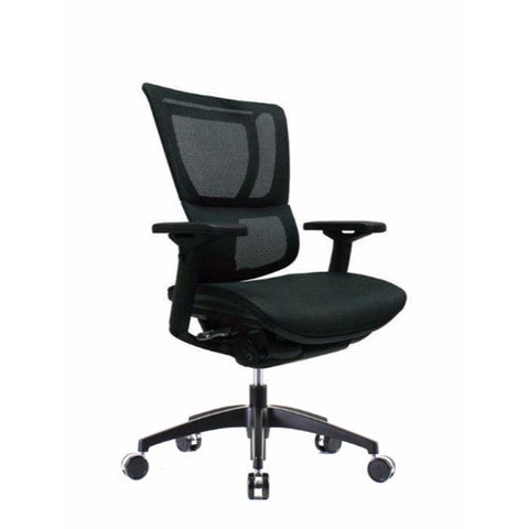 iOO Eurotech Ergonomic Office Chair in Dark Green Mesh and Black Frame, Angled View