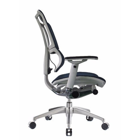 iOO Eurotech Ergonomic Office Chair in Dark Blue Mesh and White Frame, Profile View