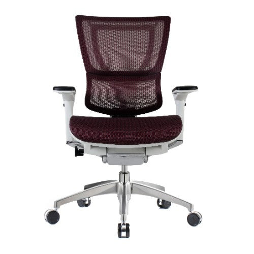 iOO Eurotech Ergonomic Office Chair in Dark Red Mesh and White Frame, Front View