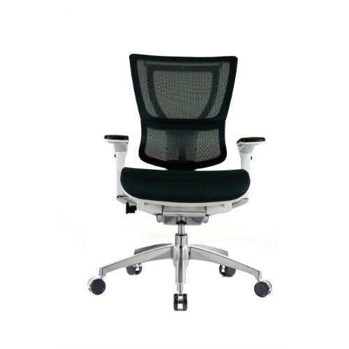 iOO Eurtoech Ergonomic Office Chair in Dark Green Mesh and White Frame, Front View