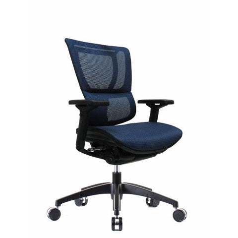 iOO Eurotech Ergonomic Office Chair in Dark Blue Mesh and Black Frame, Angled View