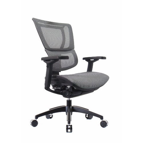 OO Eurotech Ergonomic Office Chair in White Mesh and Black Frame, Angled View