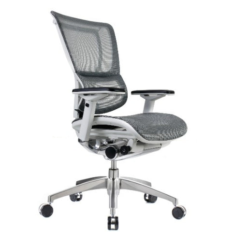 iOO Eurotech Ergonomic Office Chair in White Mesh and White Frame, Angled View