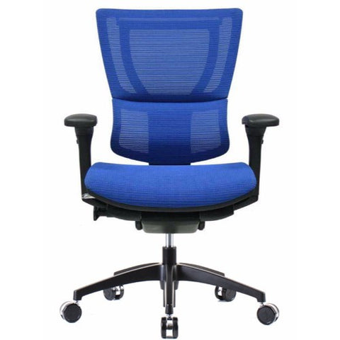 iOO Eurotech Ergonomic Office Chair in Bright Blue Mesh and Black Frame, Front View