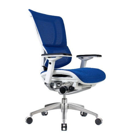 iOO Eurotech Ergonomic Office Chair in Bright Blue Mesh and White Frame, Angled View