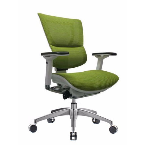 iOO Eurotech Ergonomic Office Chair in Bright Green Mesh and White Frame, Angled View