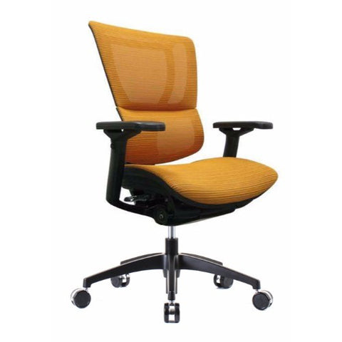 iOO Eurotech Ergonomic Office Chair in Bright Orange Mesh and Black Frame, Angled View